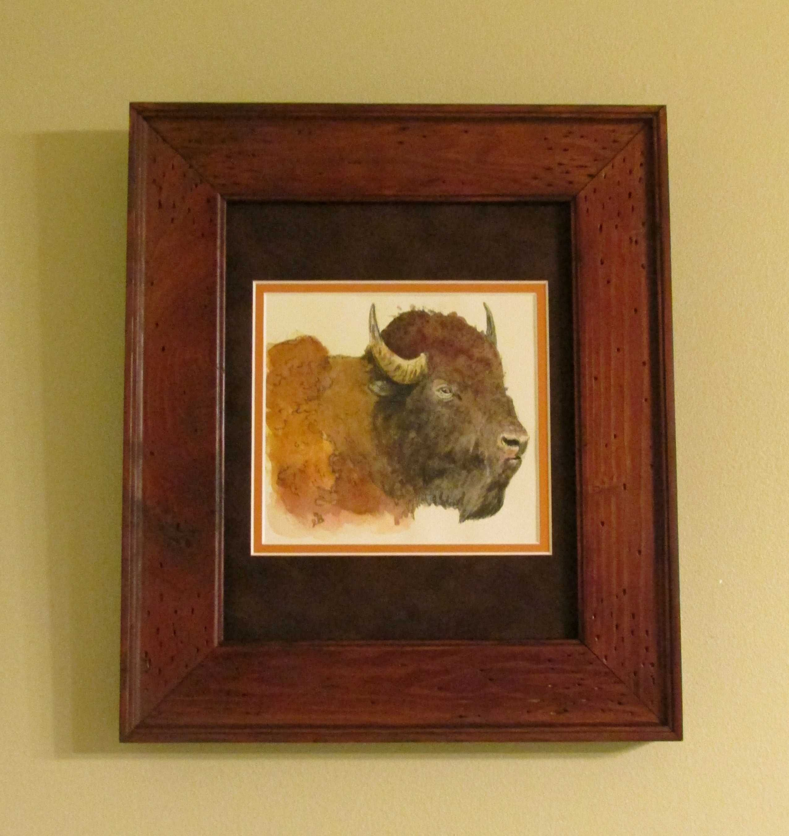 Framed by owner - American Bison Buffalo Original Watercolor Painting by Juan Bosco.  Visit sanmartin-artscrafts.com  to learn more about the artist, view his work and place custom orders.