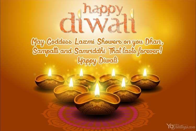 Happy Diwali Greeting Card With Diya Candle Diwali Greeting Cards Diwali Wishes Diwali Greetings