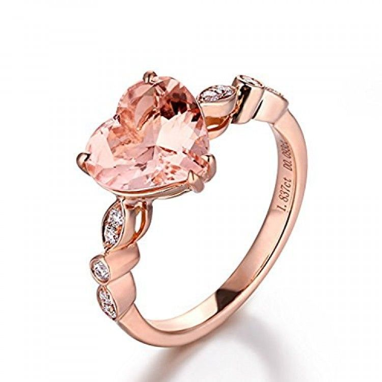 7aac1736168 Heart Shaped Morganite Engagement Ring Pave Diamond Wedding 14K Rose ...
