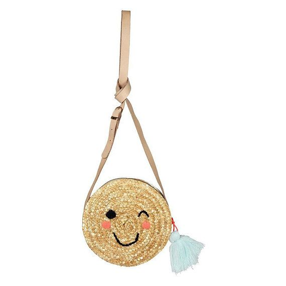 Girl Tassel bag - Kid Cross Body Bag Girl Round Happy Face Bag Kids - Cute  woven straw tassel bag