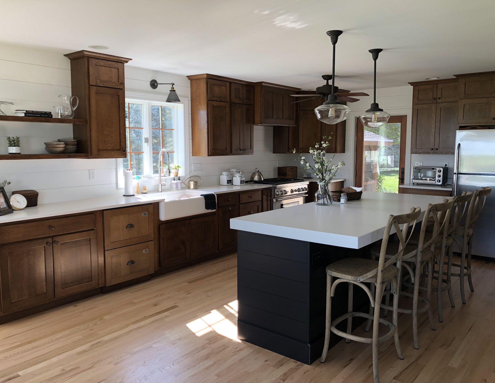 Non-white kitchen   quarter sawn oak cabinets   black ...