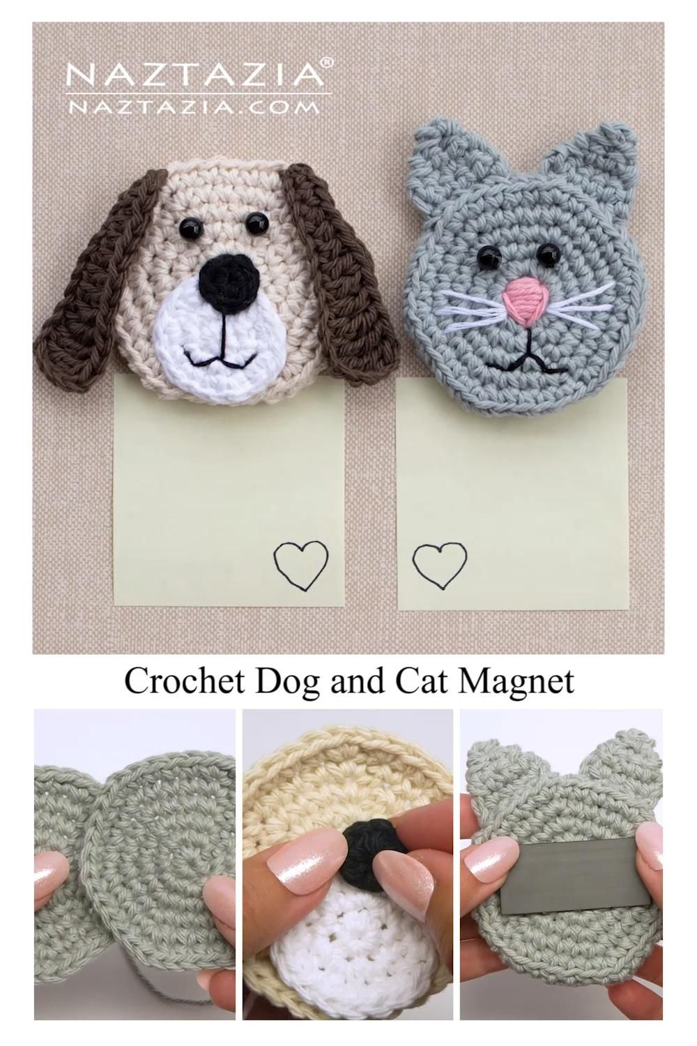 Crochet Dog and Cat Magnet Refrigerator Set by Donna Wolfe from Naztazia