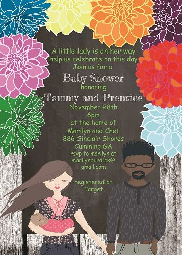 Interracial baby shower invitations