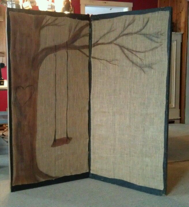 Oh so cute screen room divider with hand painted burlap for Painted screens room dividers
