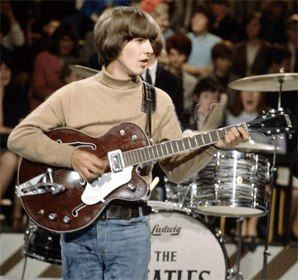 George Harrison with his 1963 Gretsch Tennessean during a Live performance | George harrison, The beatles, Eric clapton