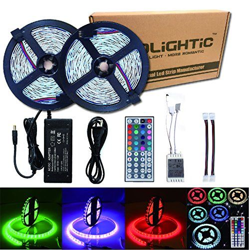 27 99 Rolightic Led Strip Lights Kit Smd 5050 328 Ft 10m 300leds Rgb Rope Lights With 44key Ir Co Led Strip Lighting Lighting Ceiling Fans Strip Lighting