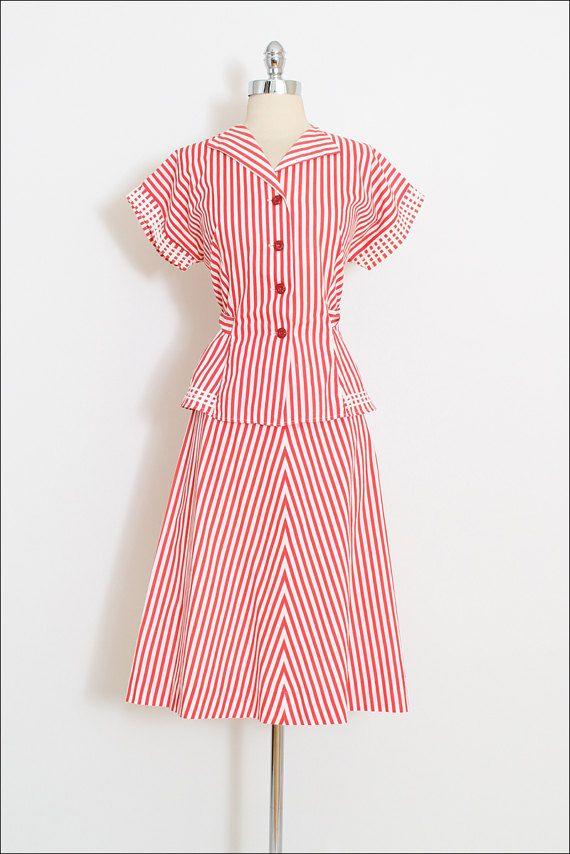 Reserved /// Vintage 40s Dress   vintage 1940s skirt top set   red ...