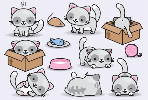Premium Vector Clipart Kawaii Cats Cute Cats Clipart Set Etsy Kawaii Drawings Cat Clipart Kawaii Cat