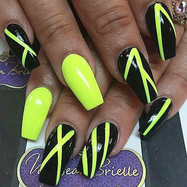 Black Neon Yellow Neon Green Nails Neon Nails Neon Yellow Nails