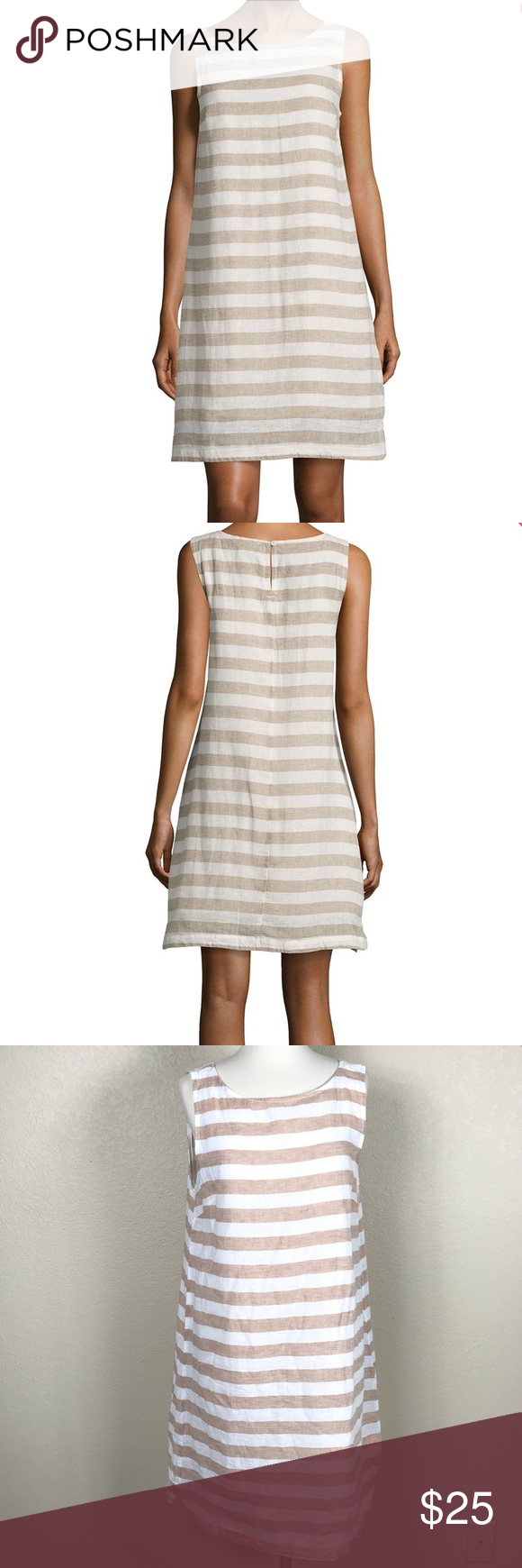 be7cf7d86b •Beach Lunch Lounge• Striped Linen Dress Gently used no signs of wear beach  lunch lounge Dresses