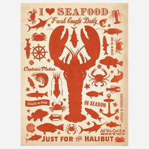 Lobster Print 18x24 now featured on Fab.