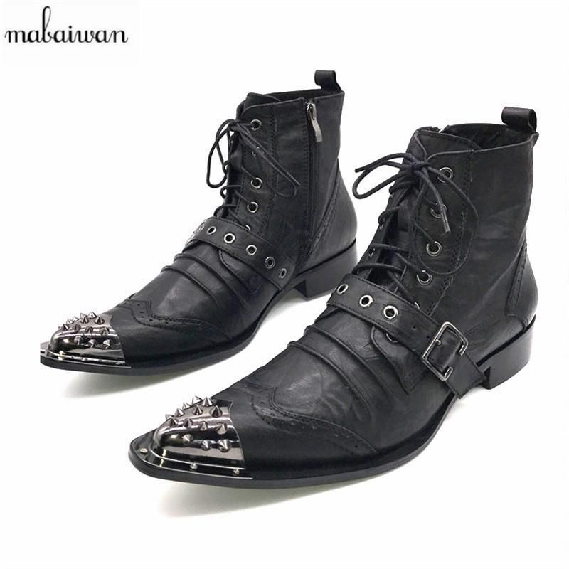 6a51325a1b6 Mabaiwan Black Fashion Men Ankle Boots Pointed Toe Botas Hombre Lace ...