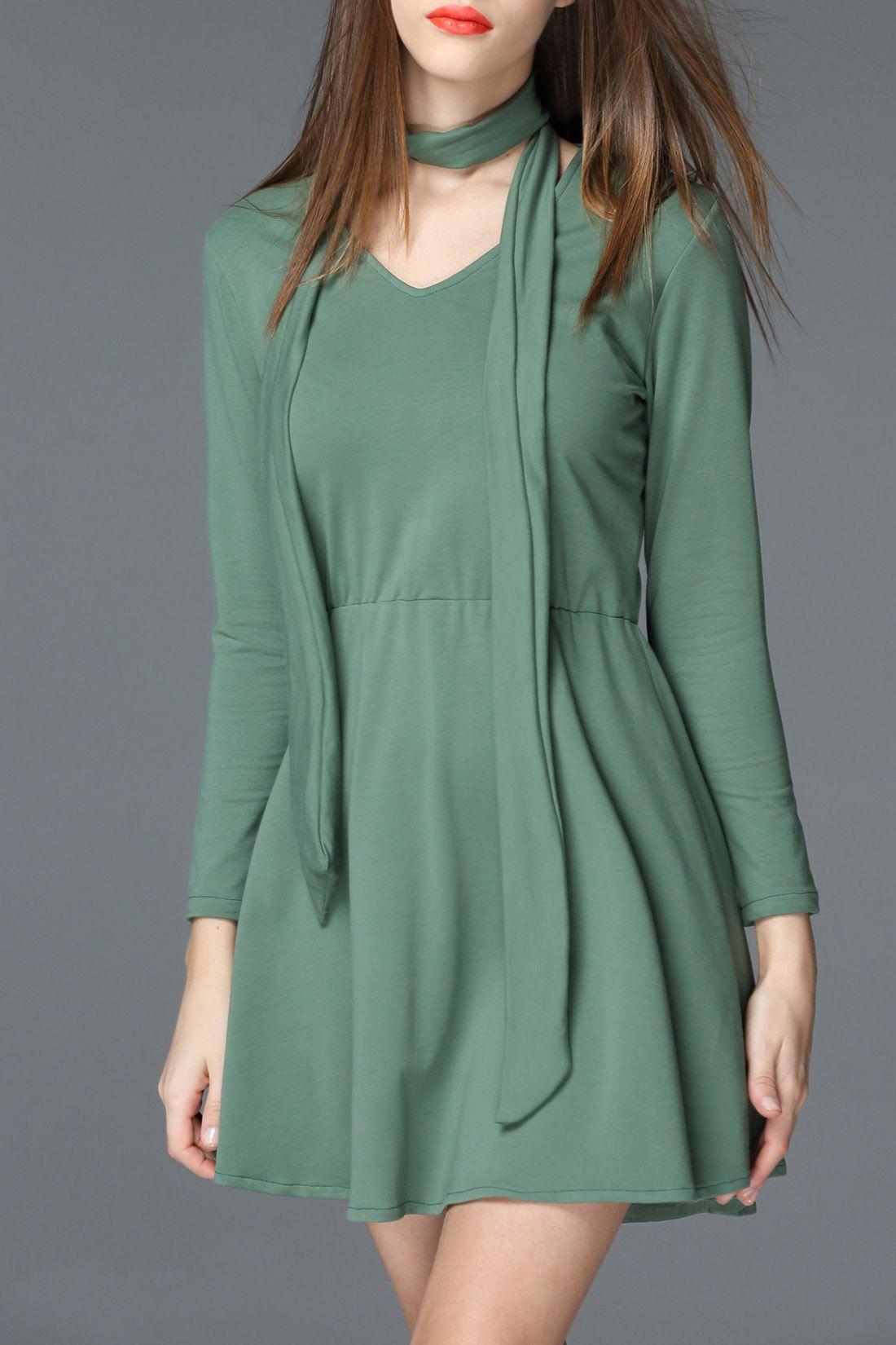 Oserjep Pea Green Tie Design Solid Color Dress | Mini Dresses at ...
