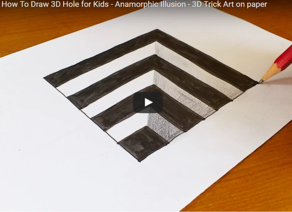 Very Easy How To Draw 3d Hole For Kids 3d Drawings 3d Drawing Techniques Op Art Lessons