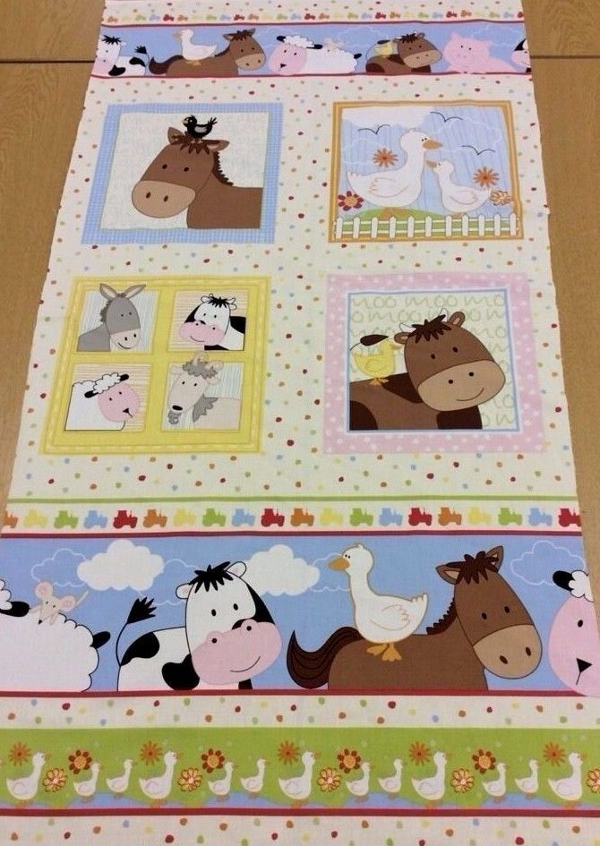Farm corner children 39 s animal quilt fabric border panel for Horse fabric for kids