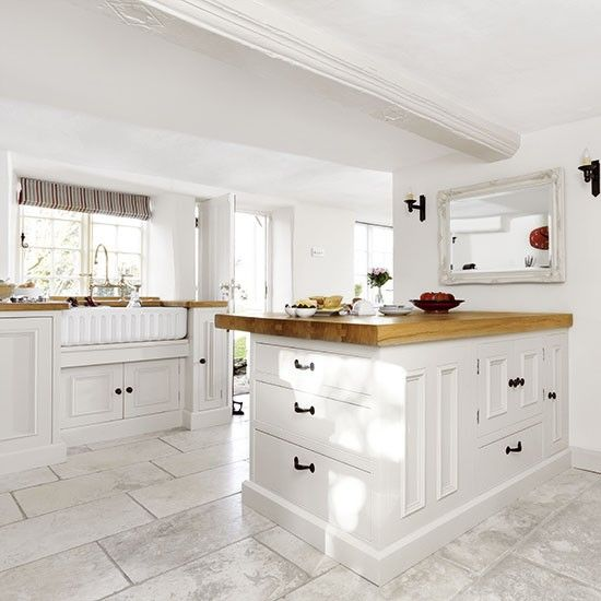 Country Style Kitchens 2013 Decorating Ideas: White Country-style Kitchen With Peninsula In 2019