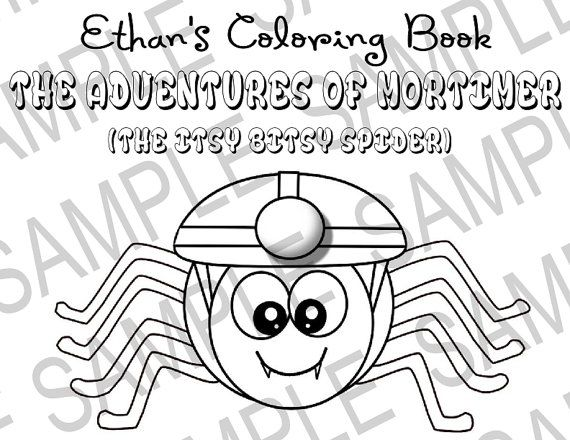 10Page Printable Personalized Itsy Bitsy Spider Coloring Book for