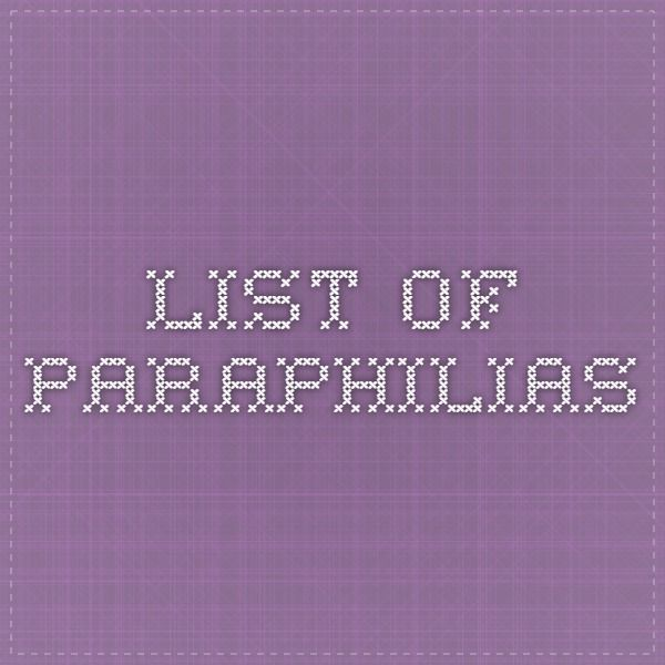 List of all known paraphilias and sexual disorders