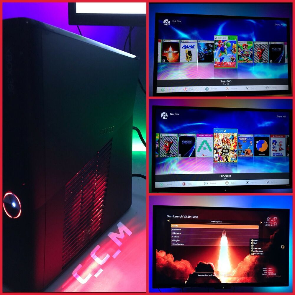 🔥Xbox 360 Slim RGH Trinity With 120Gb HDD + LEDs + Custom