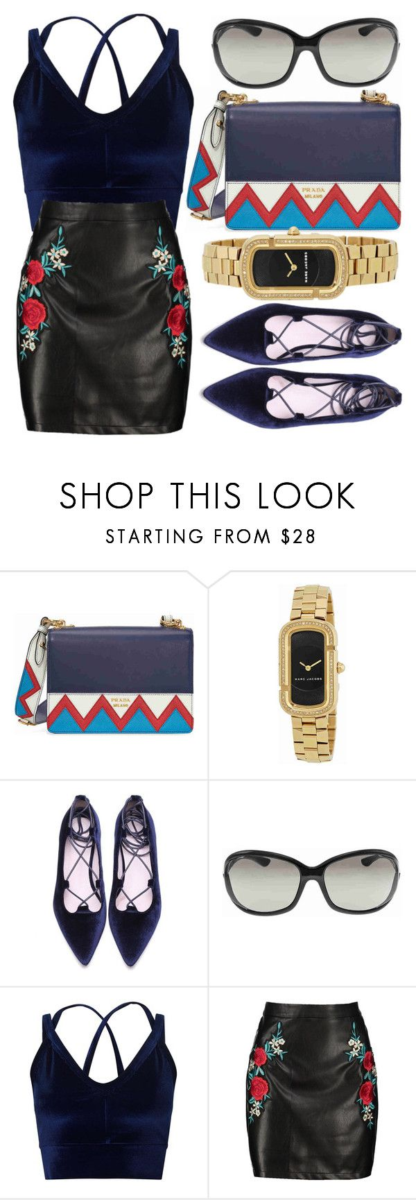 """""""Velvet"""" by jomashop ❤ liked on Polyvore featuring Prada, Marc Jacobs, Tom Ford, Miss Selfridge, Boohoo and Blue"""