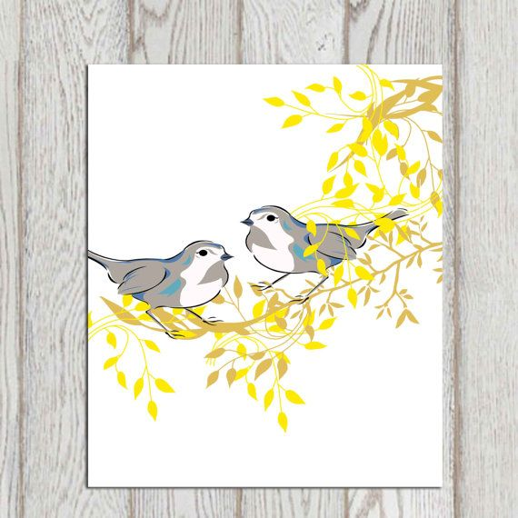 Yellow and gray Birds wall art Bird printable Large Bird print Bird ...