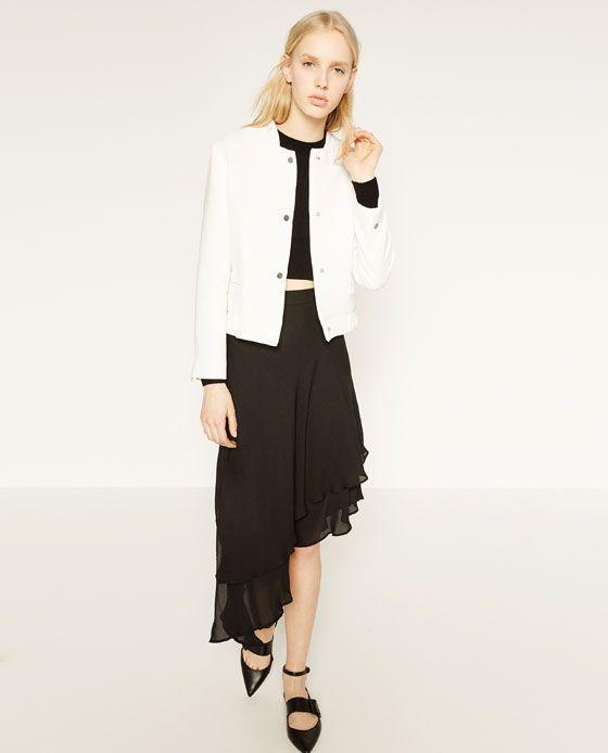 b84295df Image 5 of ASYMMETRIC SKIRT from Zara Asymmetrical Skirt, Zara, Duster Coat,  Fashion