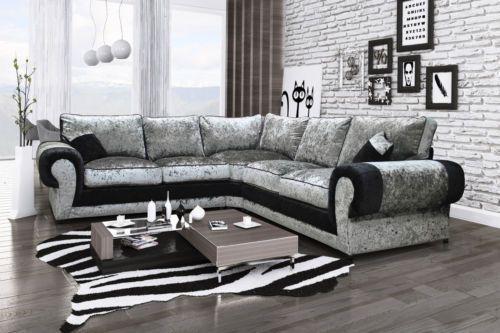 Milano Large Corner Sofa In Black Silver Crushed Velvet With Foam And Fibre Big Corner Sofa Leather Corner Sofa Corner Sofa