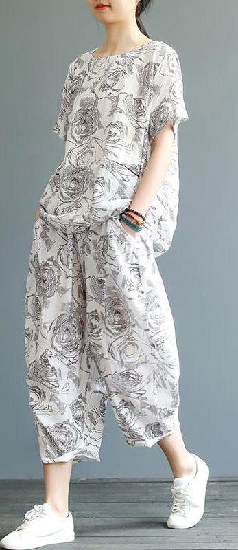 Unique cotton Fashion Vintage Casual Printed T-Shirt And Harem PantsVintage Casual Printed T-Shirt And Harem Pants