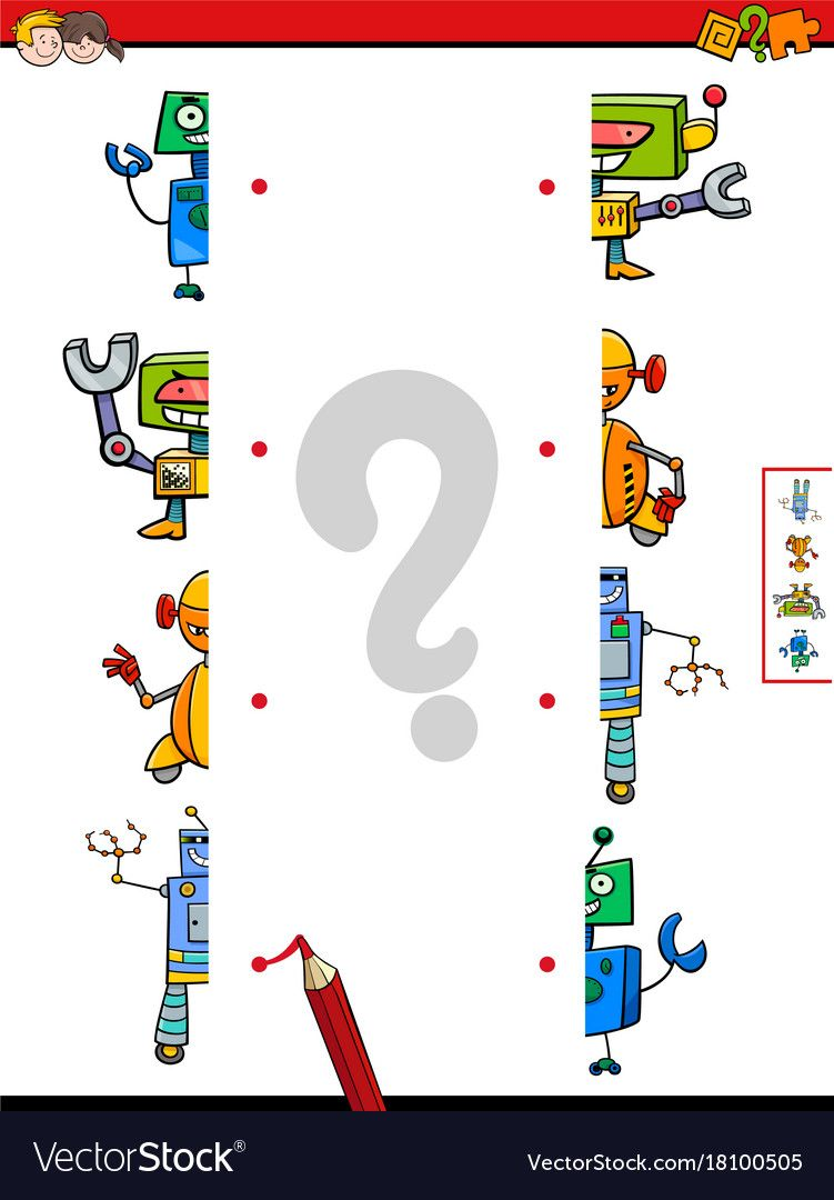Match Halves Of Robots Cartoon Game Royalty Free Vector Kids Learning Activities Free Preschool Worksheets Preschool Worksheets [ 1080 x 751 Pixel ]