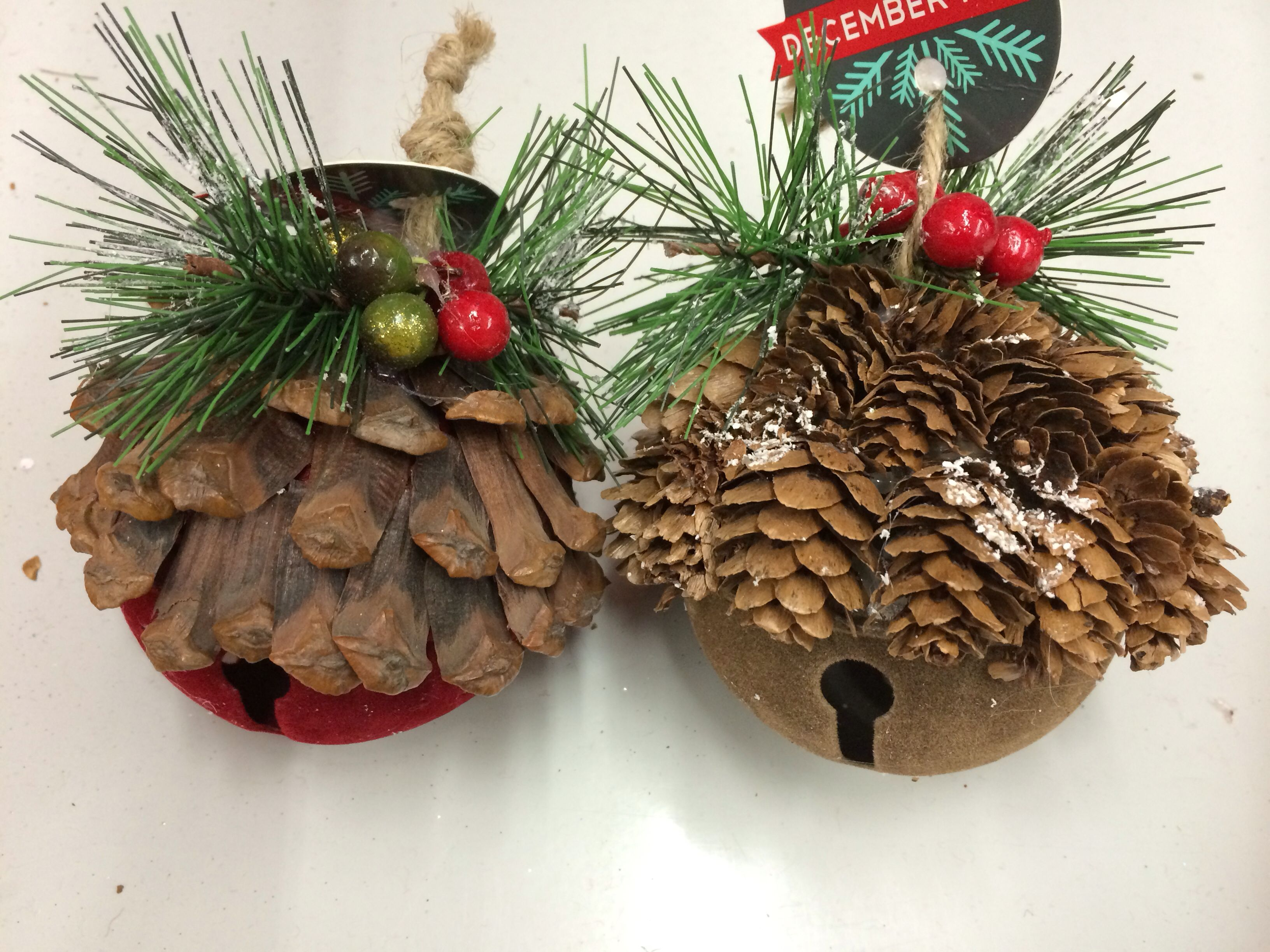 Diy Jumbo Pinecone Scale Jingle Bell Ornaments W Greenery Berries Mica These Bells Are Flocked For Sale A Handmade Christmas Bell Ornaments Christmas Wreaths