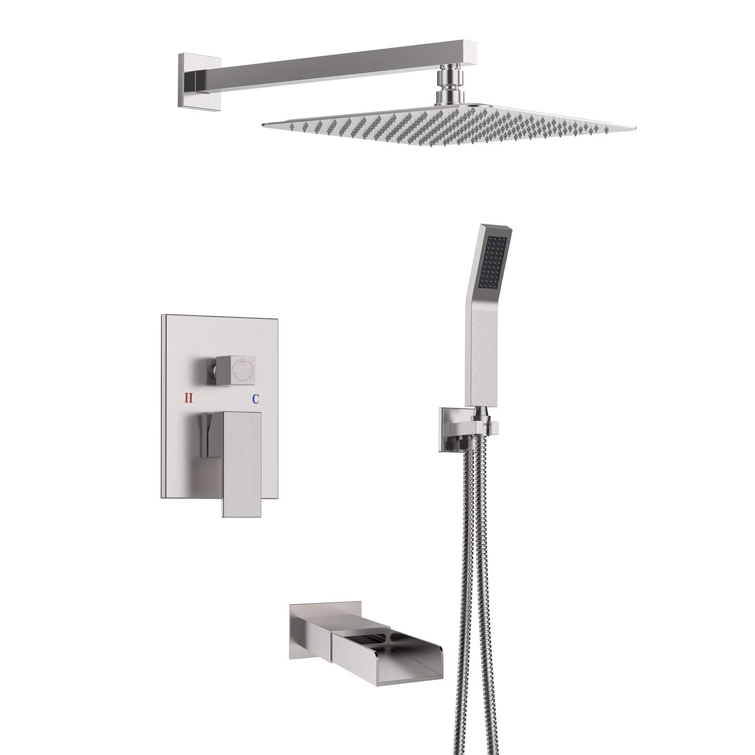 Sr Sun Rise Bathroom Luxury Rain Mixer Shower Tub Spout Combo Set Wall Mounted Rainfall Shower Head System Brushed Shower Tub Rainfall Shower Head Shower Heads