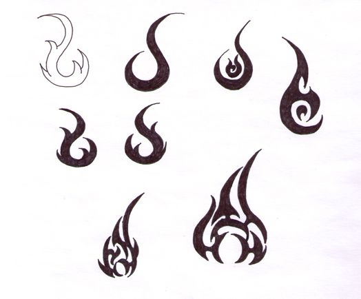 simple tribal symbol fire tribal fire flame tattoos