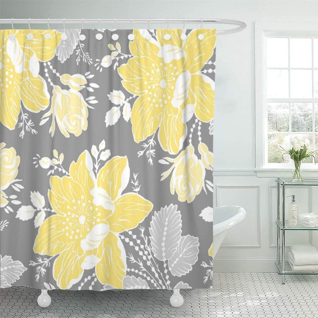 Chic Yellow Gray White Sophisticated Contemporary Preppy Bold Shower Curtain In 2020 Yellow Shower Curtains Waterproof Curtain Curtains