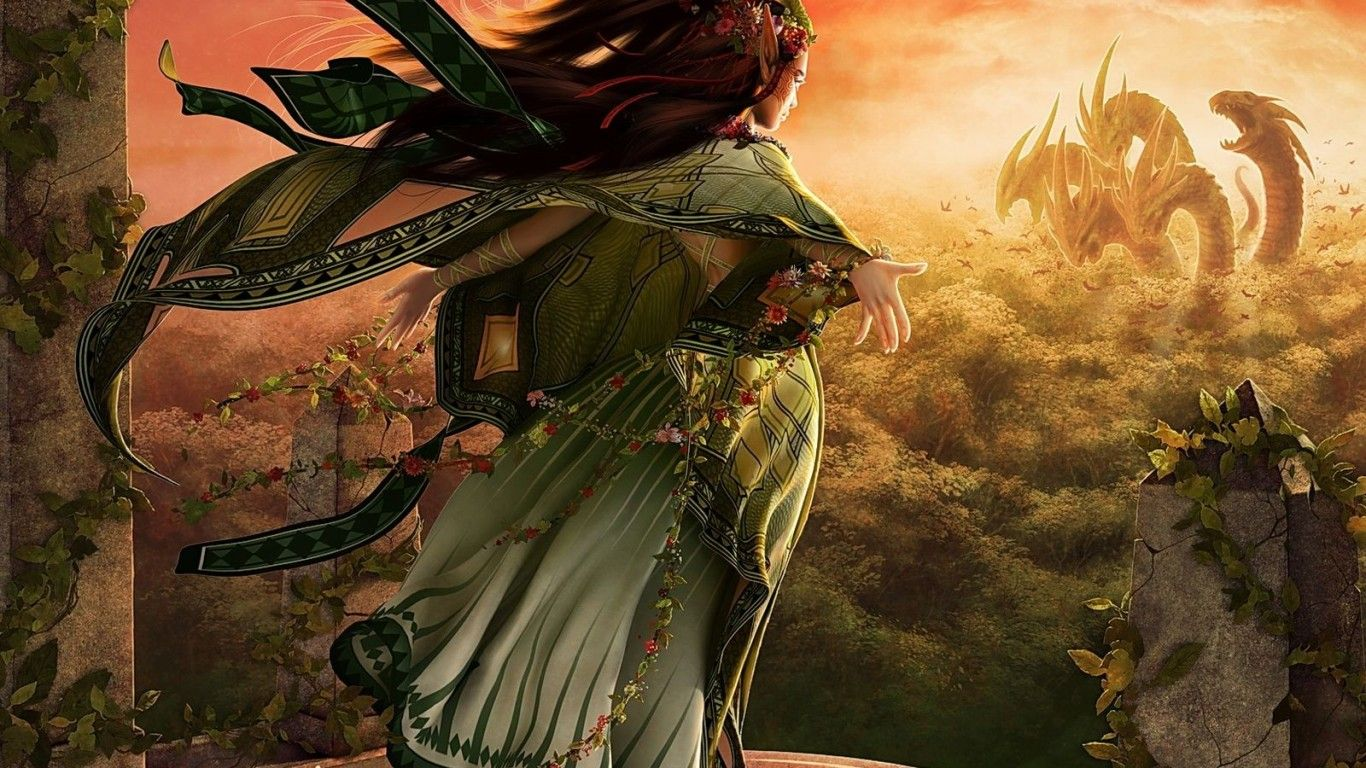 Download wallpaper girl, the dragon dress, fantasy resolution 1366x768
