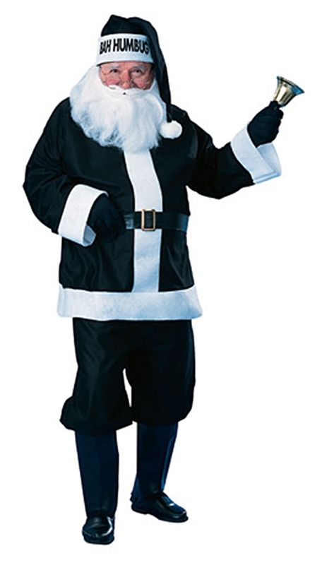 Bah Humbug Black Santa Hat Adults Kids Fancy Dress Scrooge Christmas Party