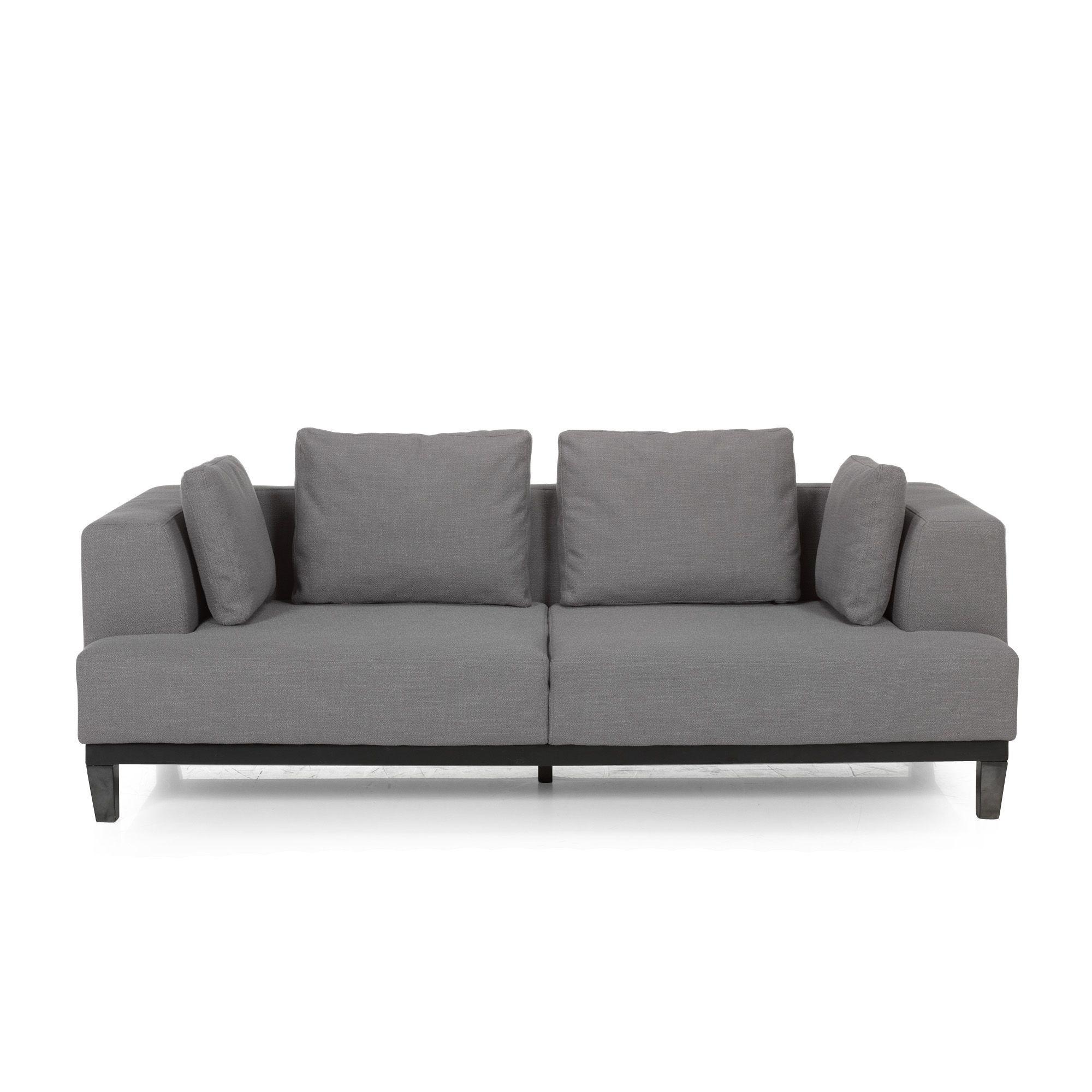Canapé Places Fixe Avec Assise Et Coussin à Mémoire De Forme Gris - Canapé 3 places pour deco interieur sejour