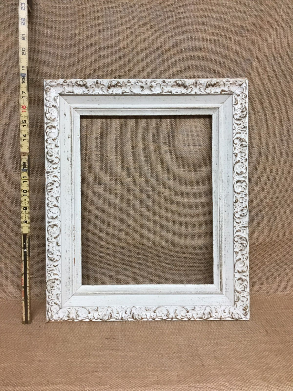 Listed Is This Beautiful White And Gold Chippy Vintage Wood Picture Frame This Old Wooden Frame Is An Am Wood Picture Frames Picture Frames Antique Farmhouse