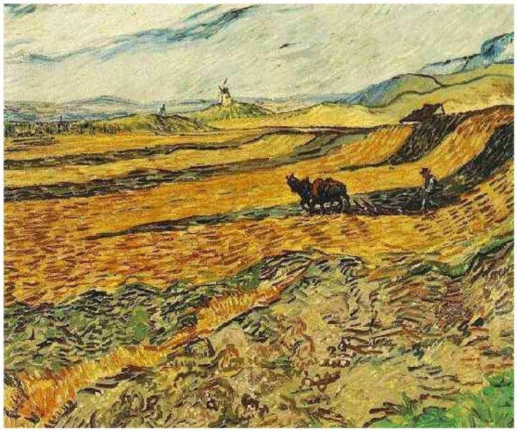 Field with Ploughman and Mill by Vincent Van Gogh Painting, Oil on - Description De La Chambre De Van Gogh