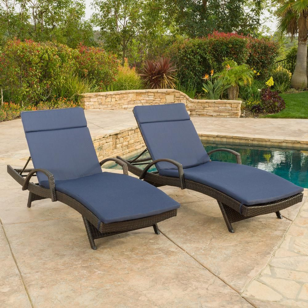 COMHO Patio Chaise Lounge Outdoor Adjustable Wicker Lounge Chairs with Cushions 2 Sets