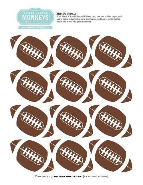 Free Mini Football Toppers Decor Printable By Threelittlemonkeysstudio Com Football Template Football Decorations Football Birthday Party