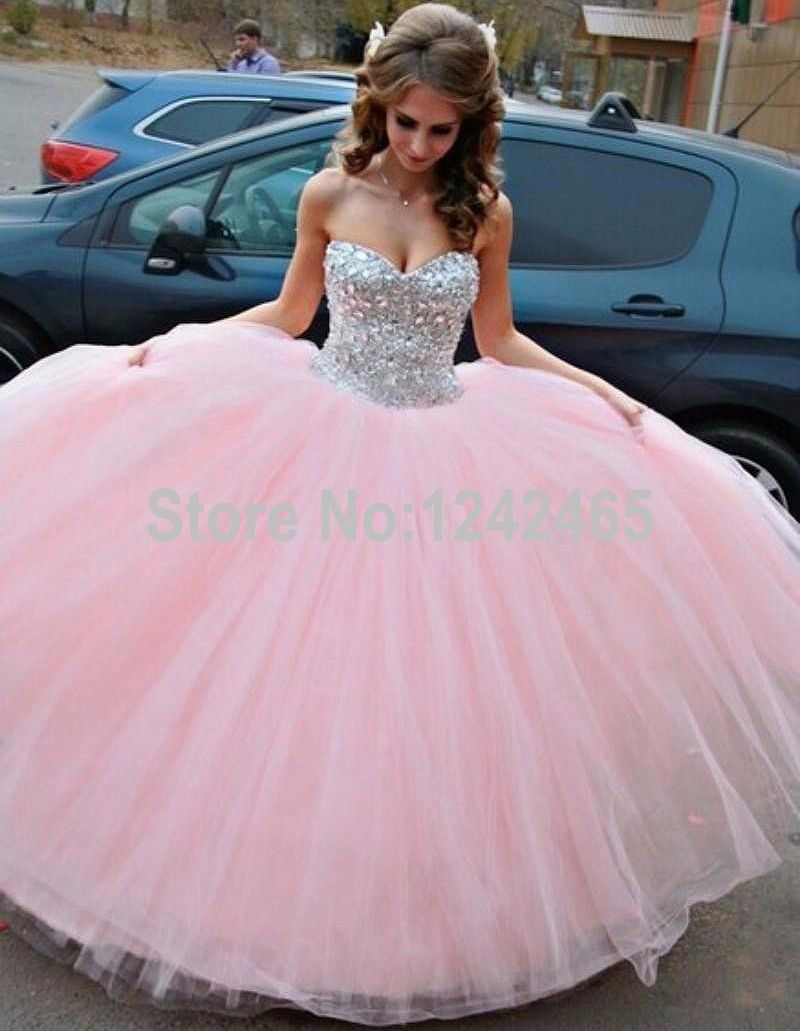 Ball Gown Sweetheart Crystal Beaded Floor Length Soft Tulle Pink