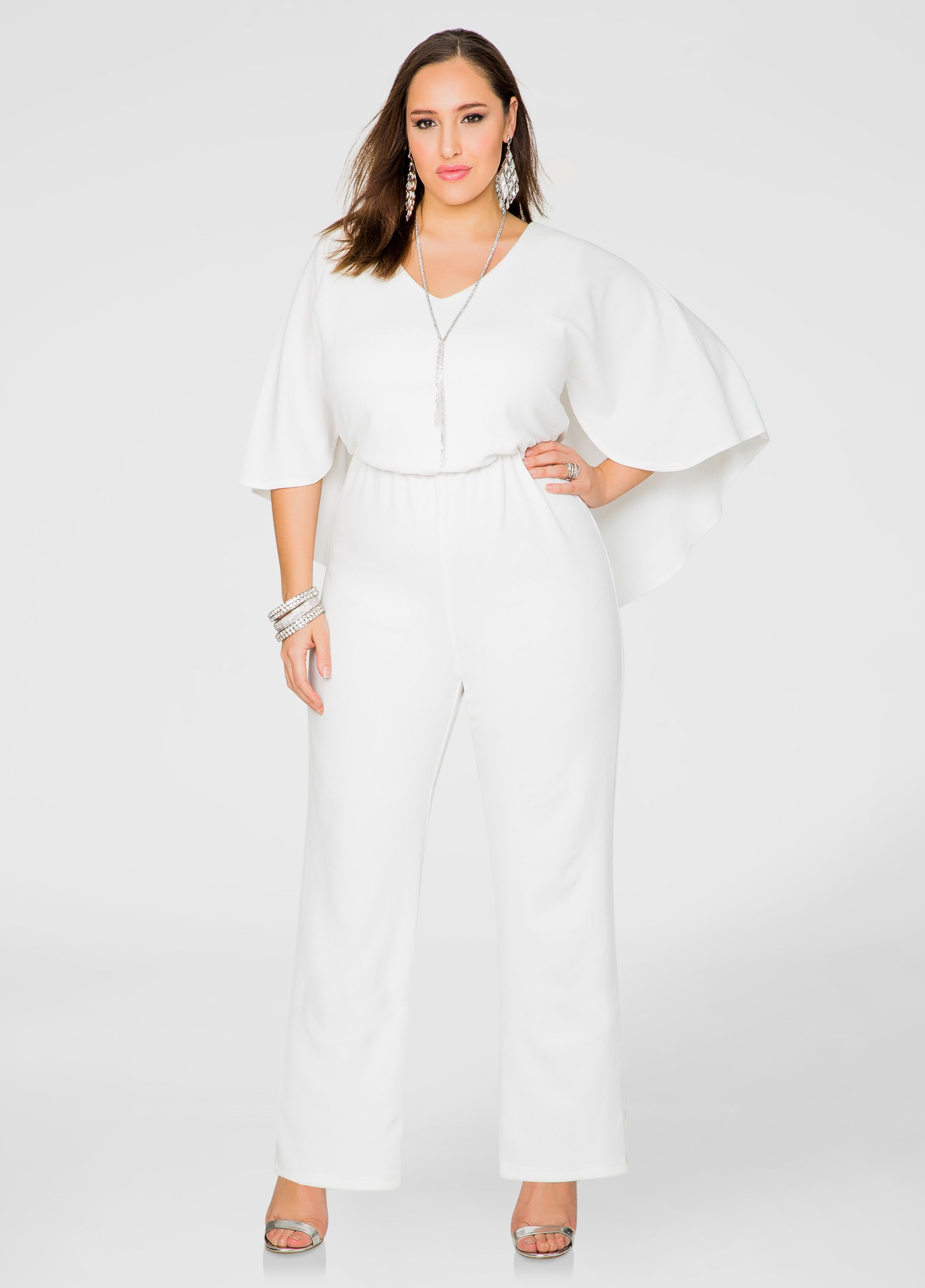3bb0b9b831622 Wide Leg Cape Jumpsuit - Ashley Stewart