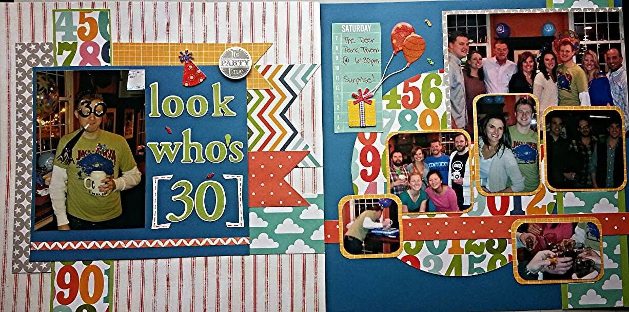 Two Little Tuxedos: Travis' Birthday Bash Scrapbook Layout #scrapbooking #birthday #milestone #30th #layout