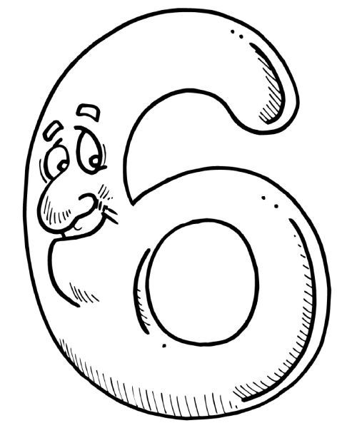 6 Sayısı Rakamı Boyama Sayfaları Preschool Pinterest