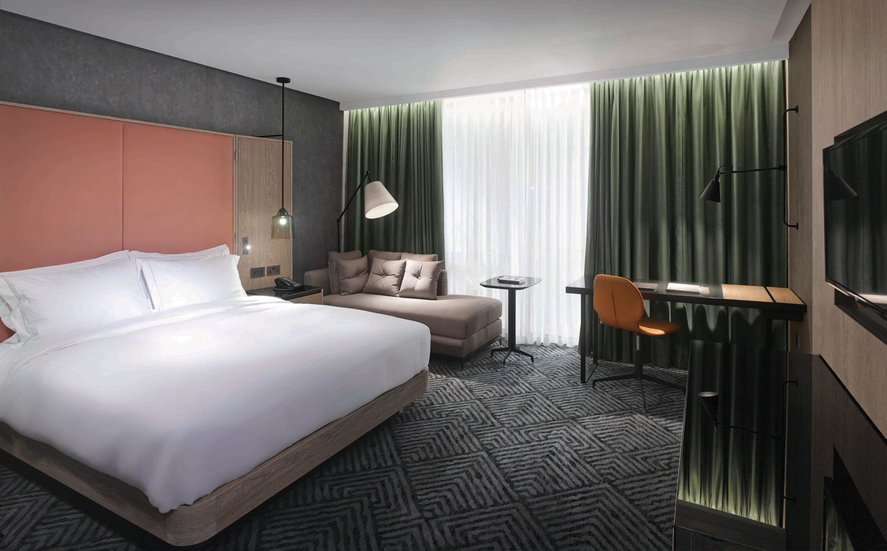 hilton london bankside interior design hotel design guestroom concrete effect - Stainless Steel Hotel Design