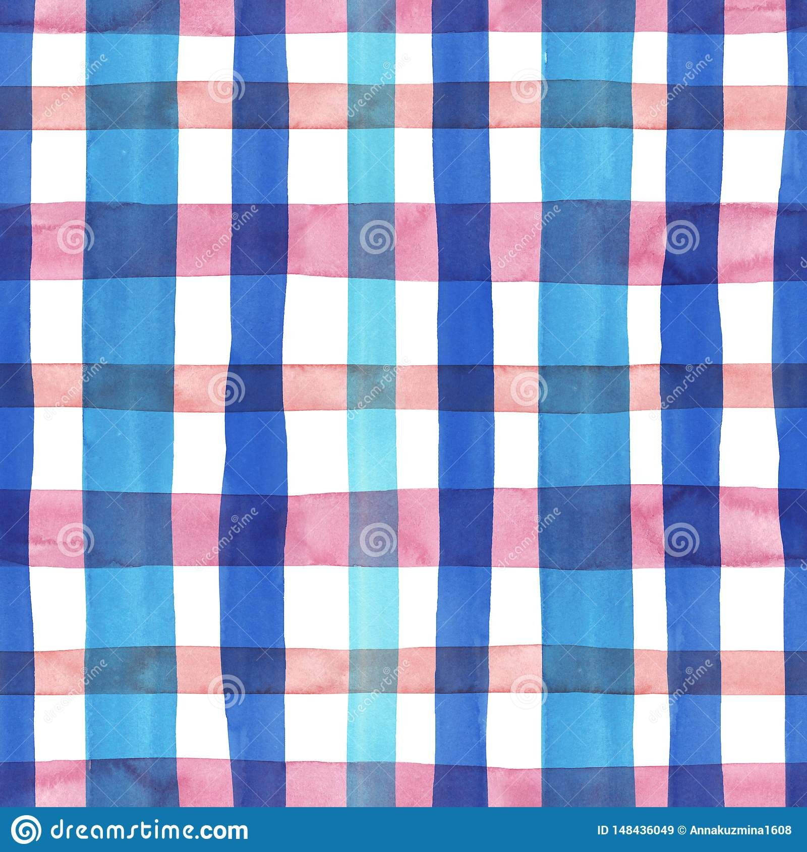 Bright pastel pink and blue plaid checkered seamless