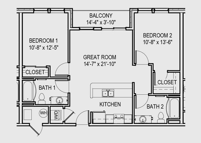 32 Beautiful Floor Plan 2 Bedroom Apartment Design Floor