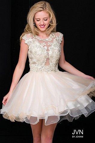 Light Gold Embellished Fit and Flare Cap Sleeve Short Dress JVN42425 ...