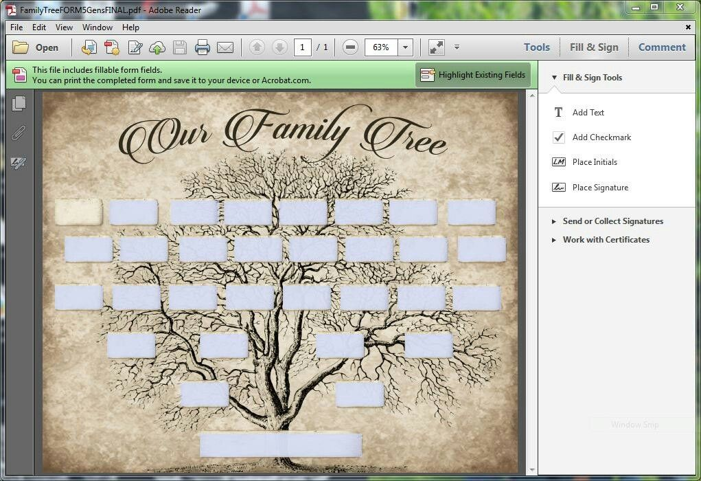 Type in your names and print your own family tree
