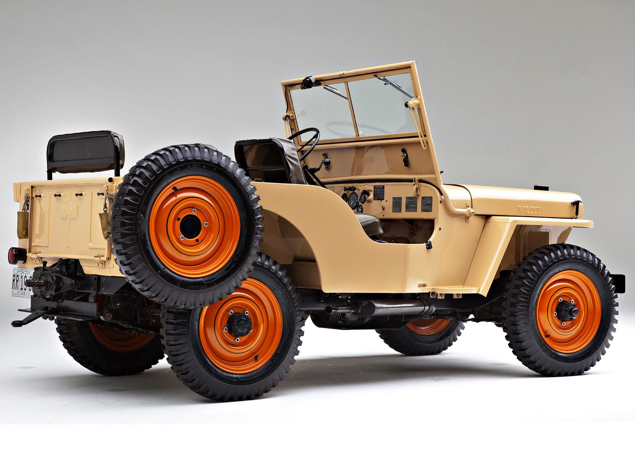 1946 Willys Overland Cj 2a In Harvest Tan With Sunset Red Wheels